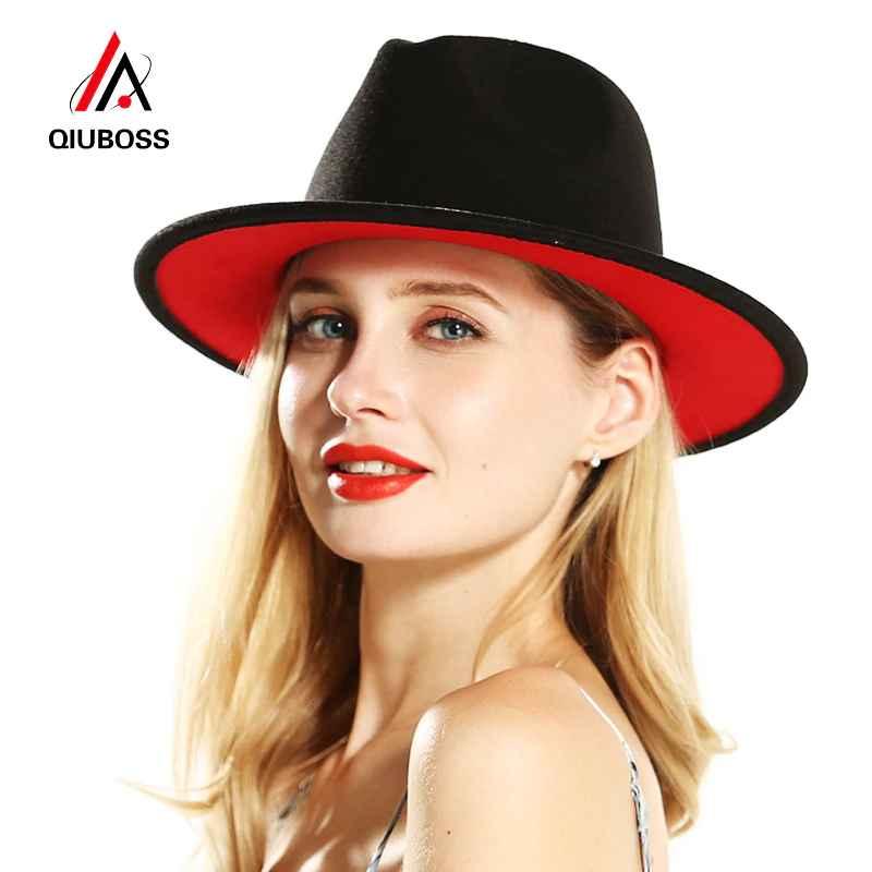 Qiuboss Mens Women Black Red Patchwork Wool Felt Floppy Jazz