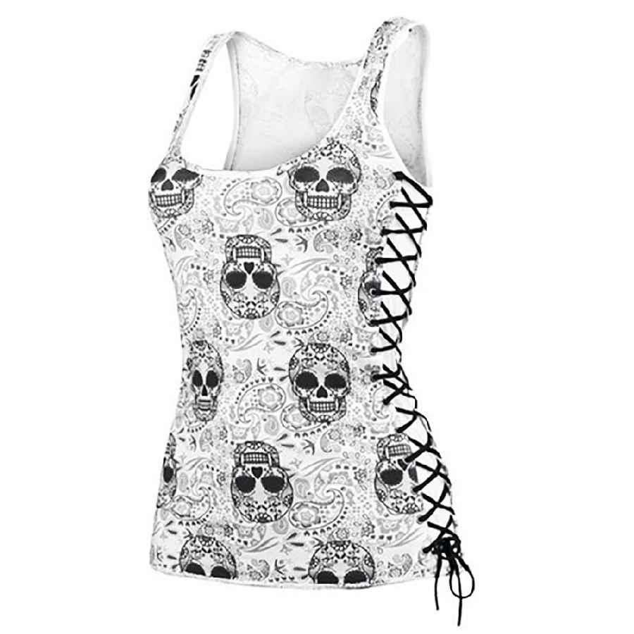 New Skull Head Design Tops Sleeveless White T Shirts Fitness