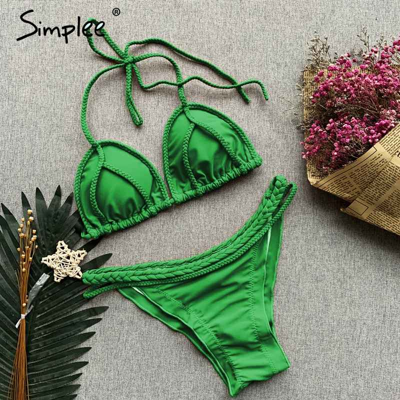 Swimwear Simplee Spaghetti Strap Push Up Swimsuit Women Two-Pieces Swimsuit