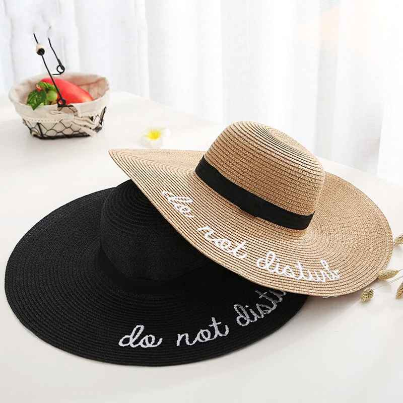 2019 Hot Letter Embroidery Cap Big Brim Ladies Summer Straw