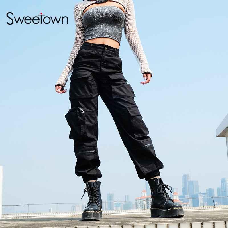 Pants sweetown black cargo pants women fashion 2019 pockets patchwork