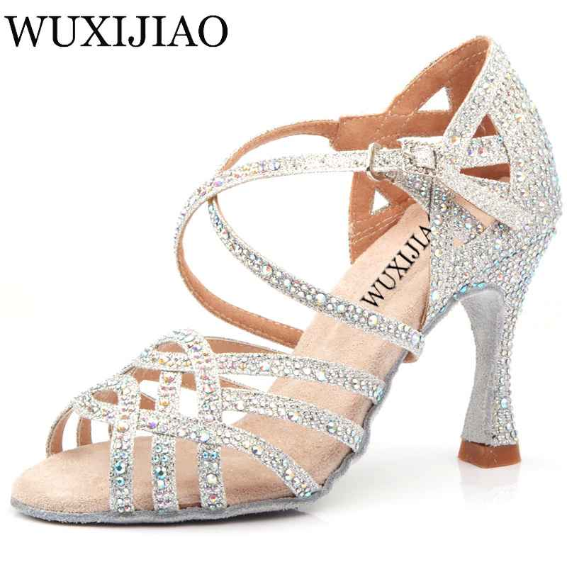 Wuxijiao Silver Blue Rhinestone Latin Dance Shoes Women Salas Ballroom