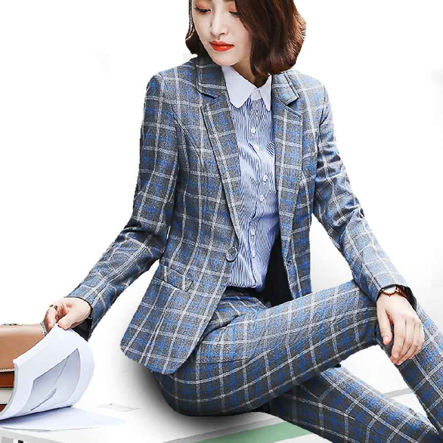 Blazers peonfly classic plaid single button women jacket blazer casual