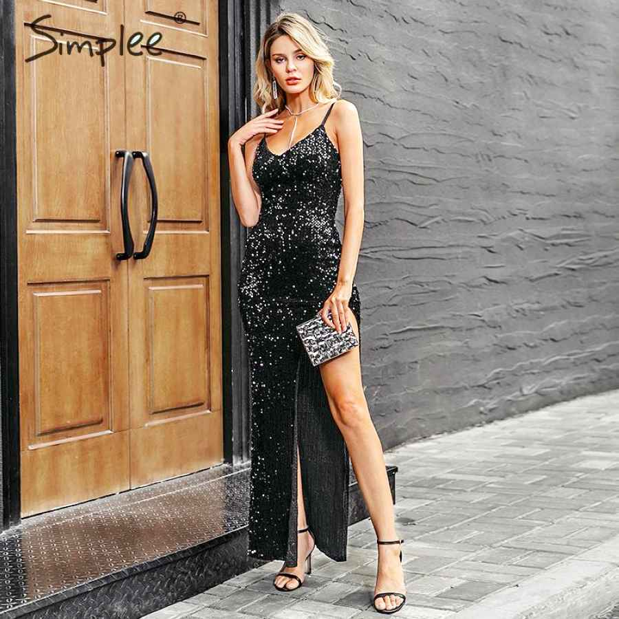 V-Neck Sequined Long Dress Women Spaghetti Strap Split Plus Size