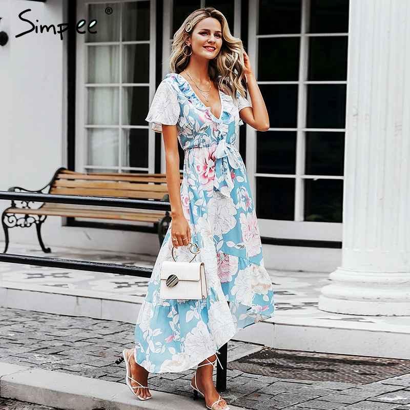 Floral Print Dresses Simplee V Neck Women Asymmetric Dresses Short