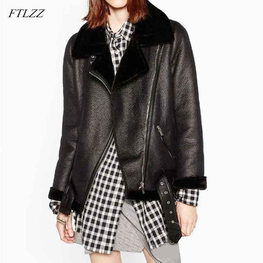 Ftlzz 2019 New Winter Women Sheepskin Coats Thicken Faux Leather