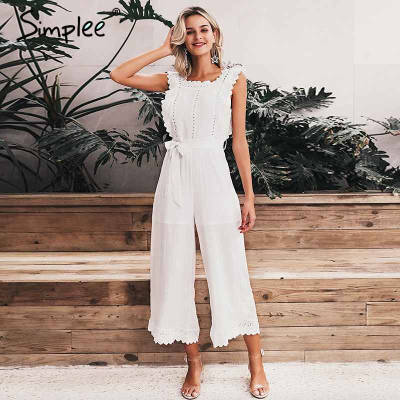 Cotton Linen Ruffled Embroidery Women Jumpsuit Elegant Hollow Out Sashes