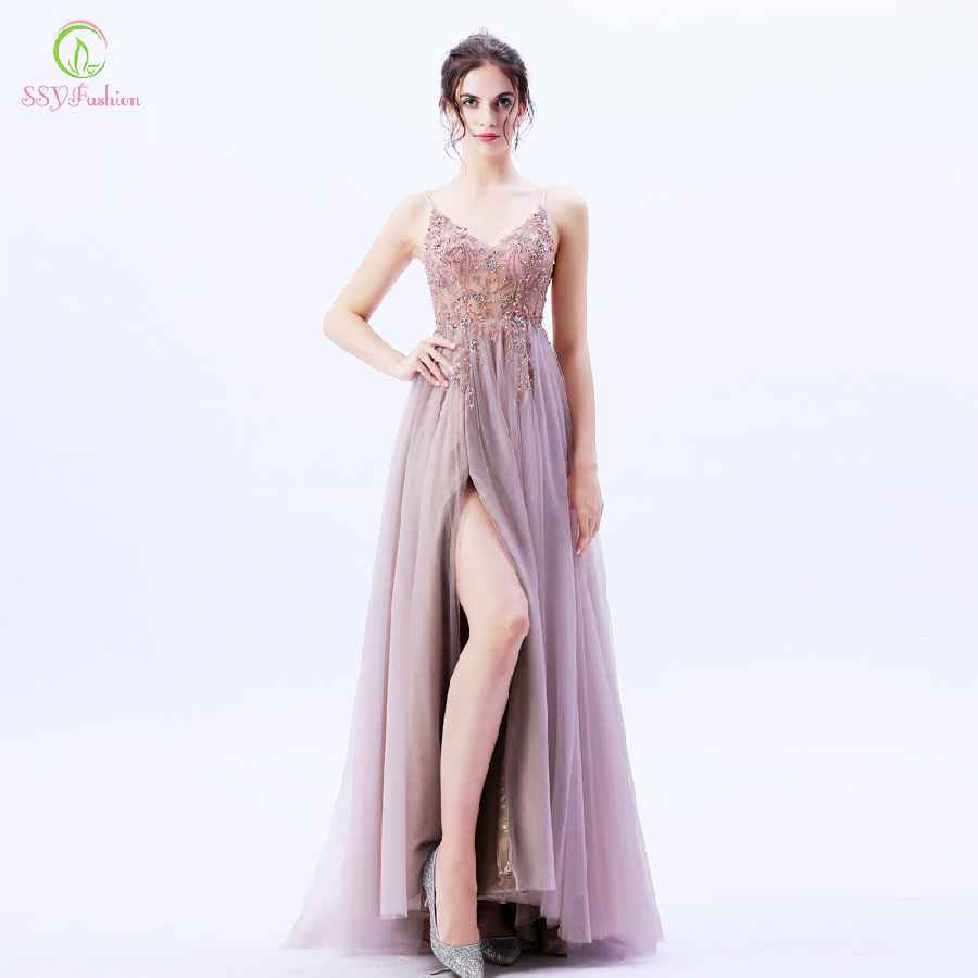 New High-End Evening Dress Luxury Handmade Sequins Beading Backless V-Neck
