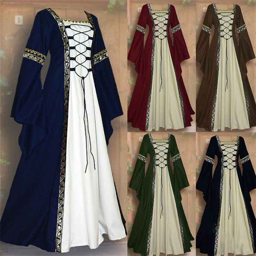 Gothic Medieval Dress Cosplay Carnival Halloween Costume For Women Retro