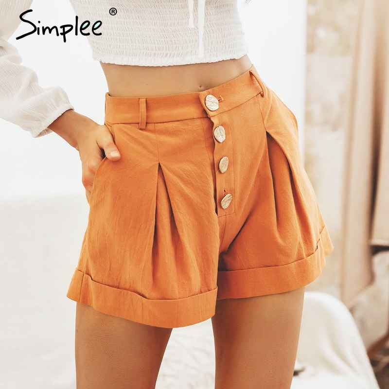 Casual Buttons Summer Women Cotton Shorts High Waist Female Hot