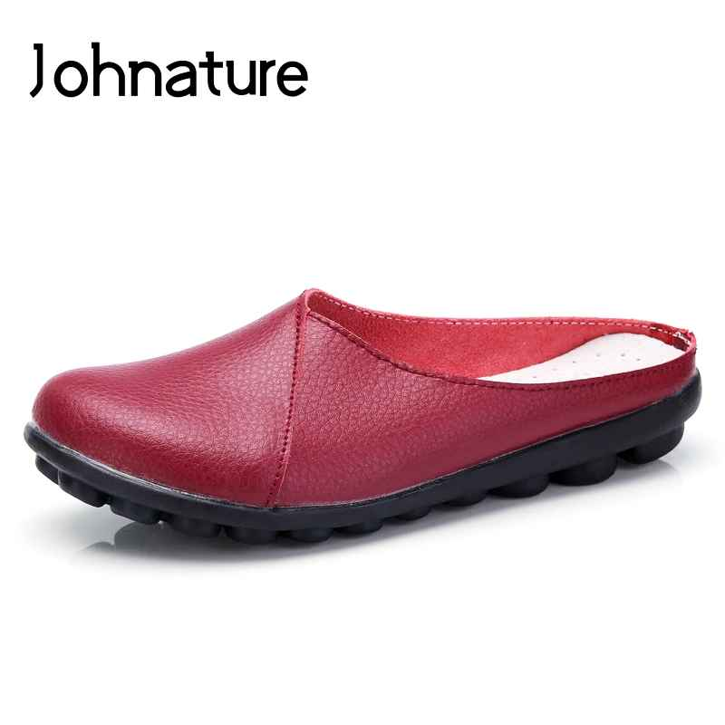 Johnature 2019 New Summer Outside Genuine Leather Comfortable Round Toe