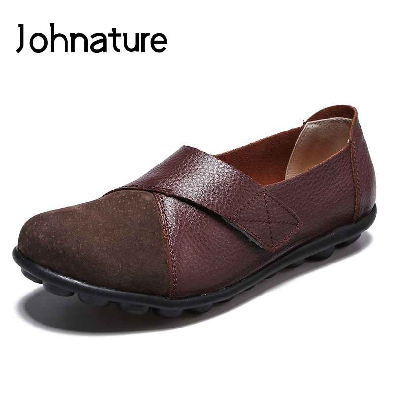 Johnature 2019 New Springautumn Round Toe Solid Sewing Hook&Loop Soft
