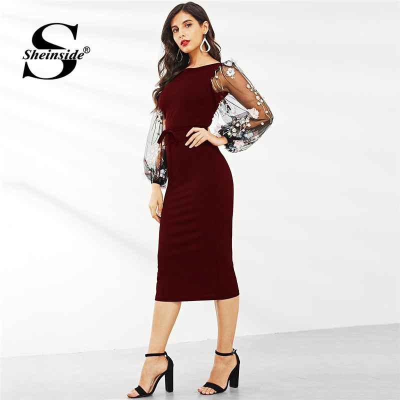 Applique Embroidered Mesh Sleeve Pencil Dress Burgundy Midi Dresses For