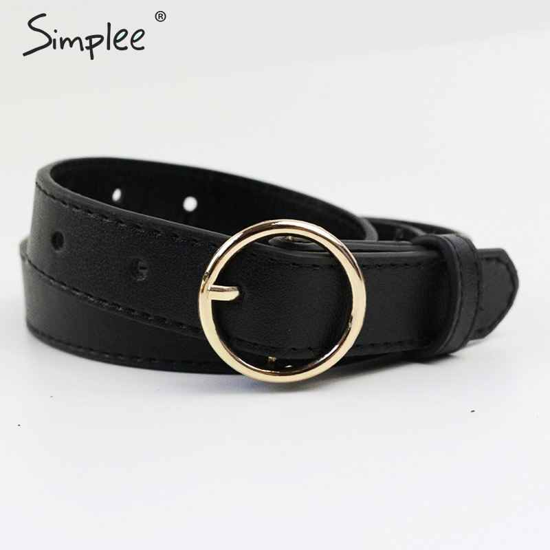 Simplee Vintage Fashion Women Belt Solid Round Shape Buckle Classic
