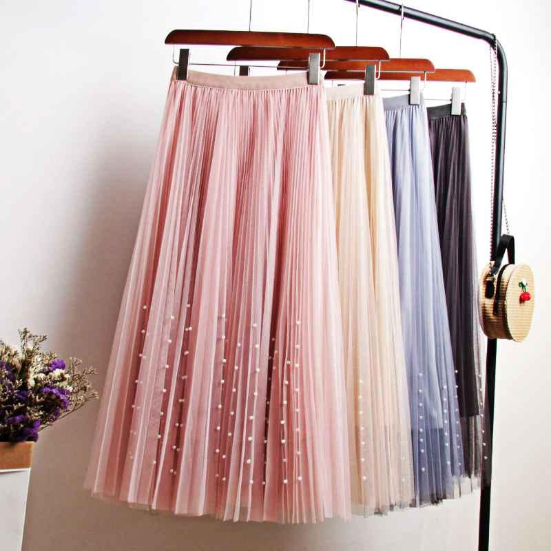Skirts new 2019 spring summer skirts womens beading mesh tulle