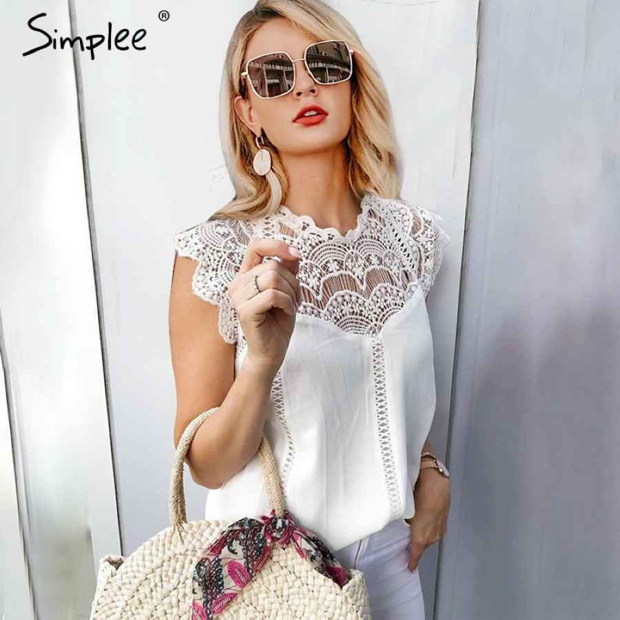Elegant Embroidery White Lace Tops Women Sleeveless Chiffon Cami Tops