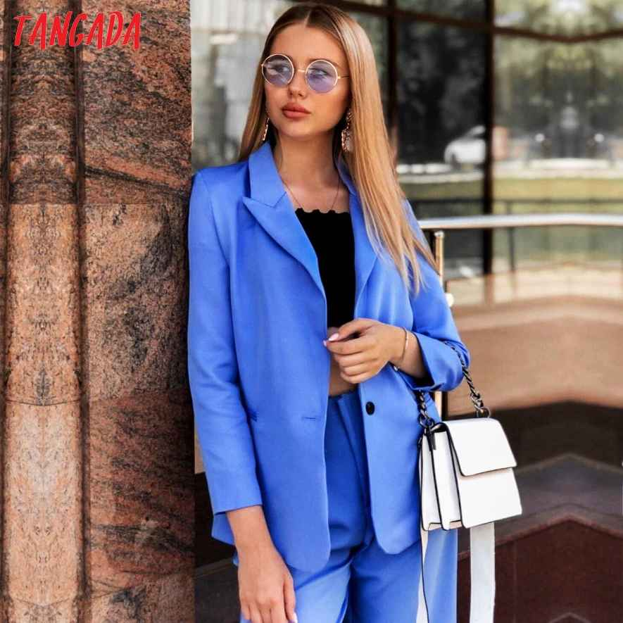 Blazers tangada 2019 women formal blue blazer long sleeve ladies