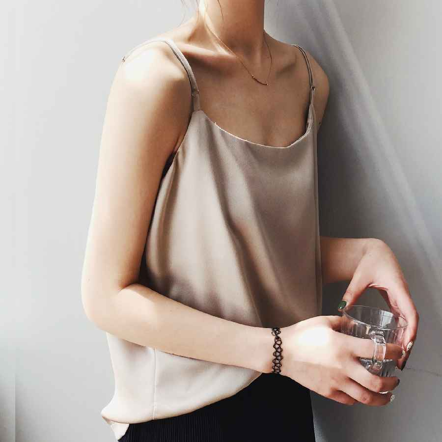 Mooirue 2019 Summer Spring Casual Satin Cami T-Shirt Woman Clothes