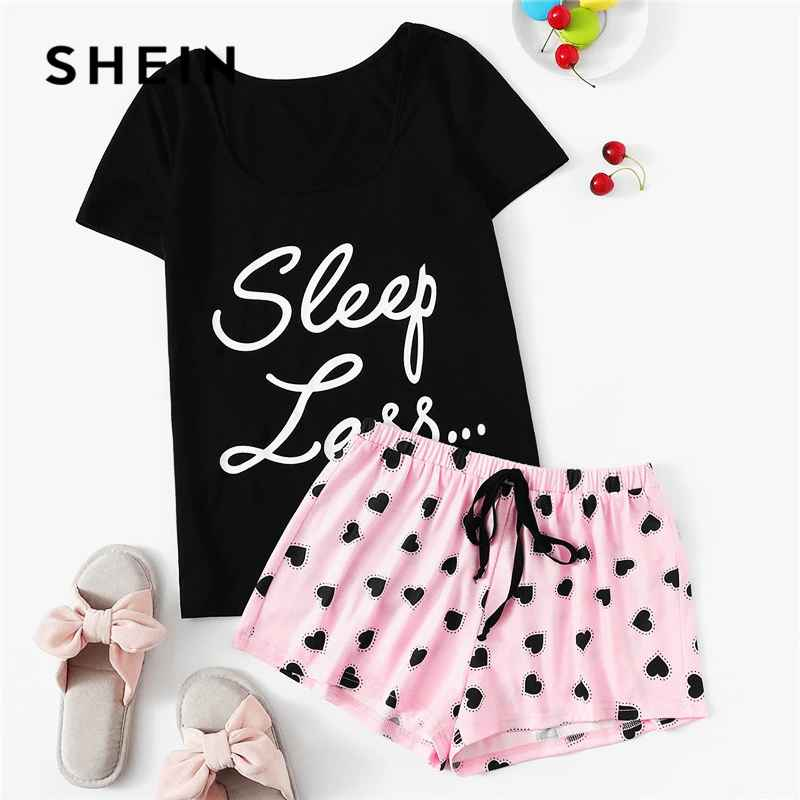 Cute Short Sleeve Slogan Tshirt And Heart Print Drawstring Waist