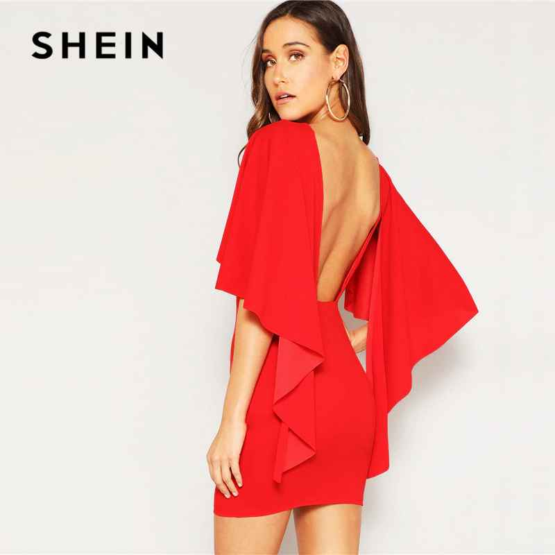 Shein Sexy Open Back Cloak Sleeve Summer Mini Dress Women