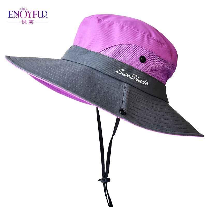 Enjoyfur Summer Wide Brim Sun Hats For Women Outdoor Uv