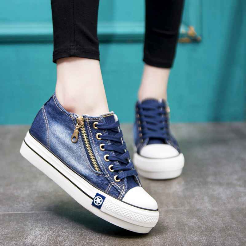 Summer Fashion Canvas Shoes Women Sneakers Thick Bottom Denim Casual