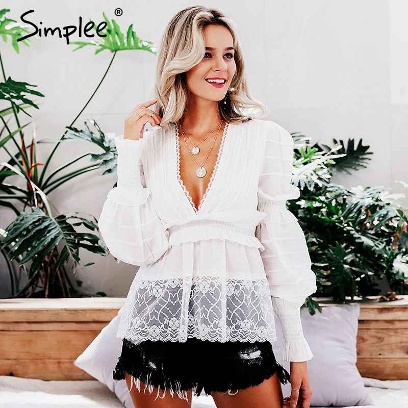 Blouses Shirts Simplee Vintage Lace White Women Blouses And Tops