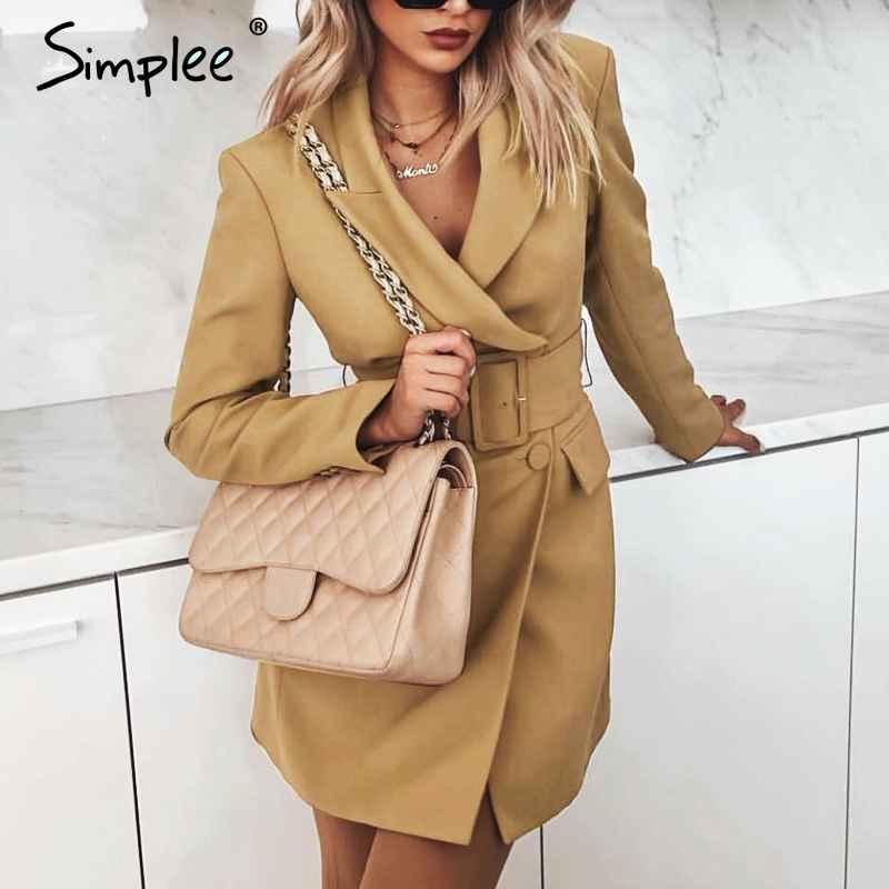 Blazers Simplee Vintage Double Breasted Women Blazer Turndown Collar Sashes