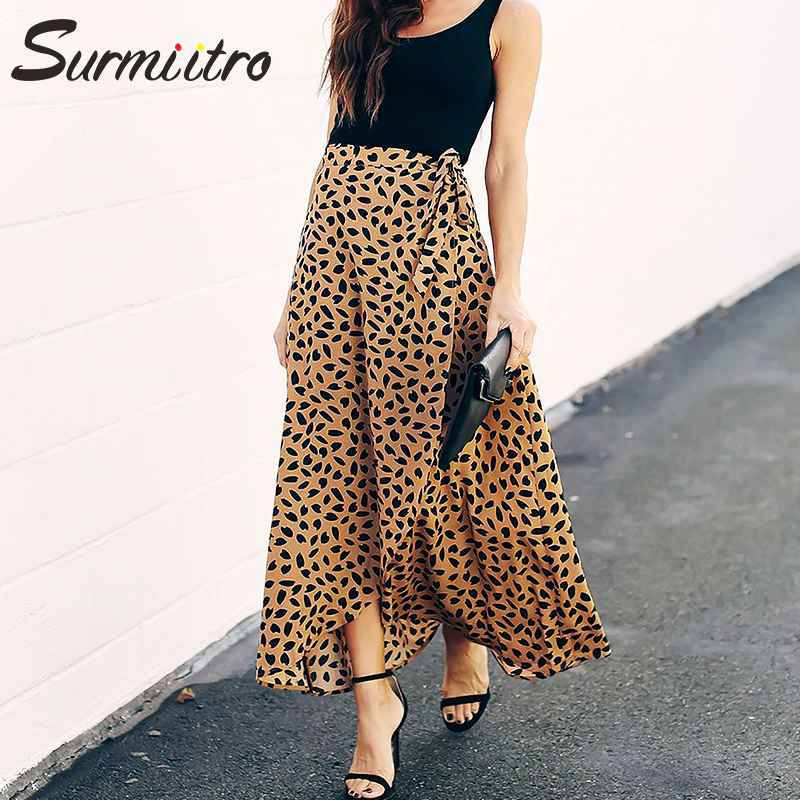 Skirts surmiitro polka dot print long maxi summer skirt women