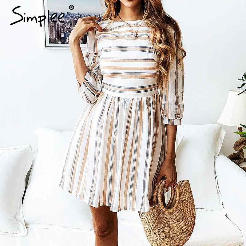 Women Summer Cotton Dress Elegant Striped O Neck A-Line Short