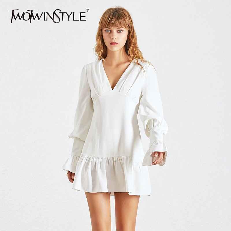 Elegant Slim Women Dress V Neck Lantern Sleeve High Waist