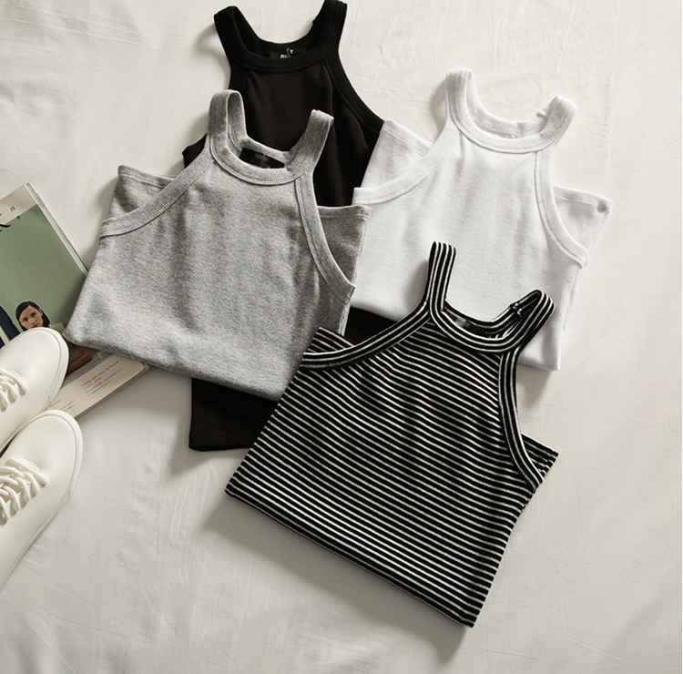 Basic Solid T Shirts Women Slim Halter Neck Off-Shoulder Camisole