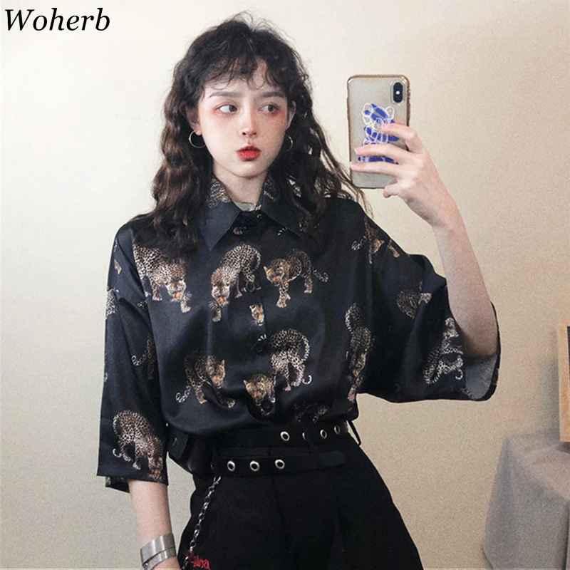 Blouses woherb vintage leopard blouse women harajuku animal print shirt
