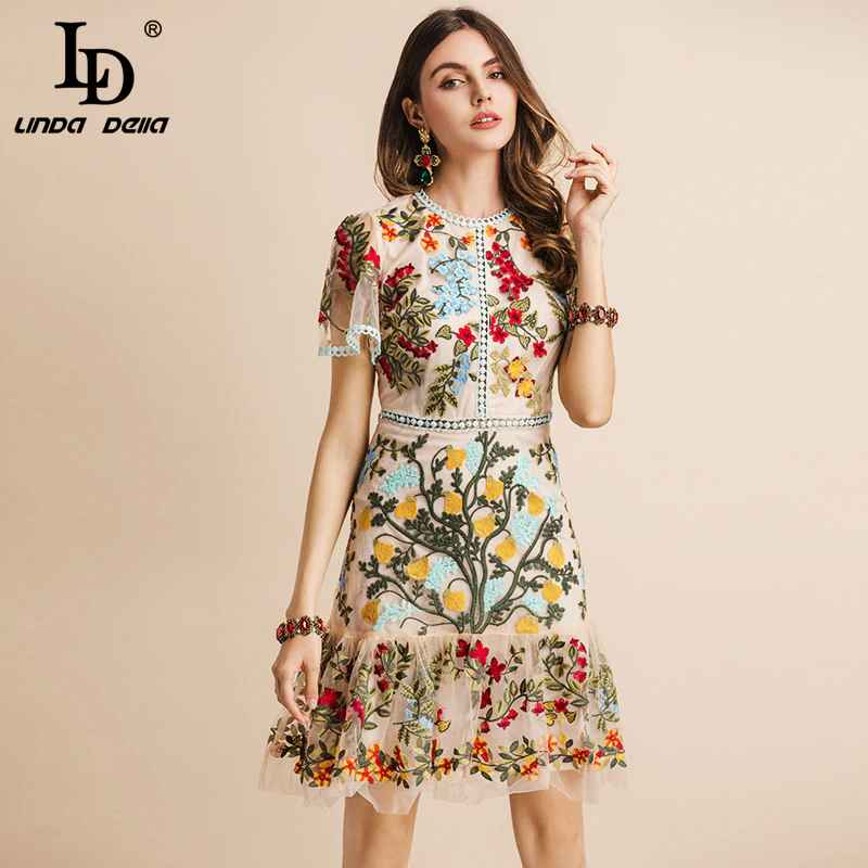 New 2019 Fashion Runway Summer Dress Women's Flare Sleeve Floral