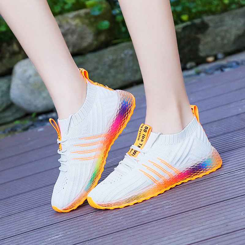 2019 Fahion Women Sneakers Chunky Jelly Shoes Ladies Platform Lace