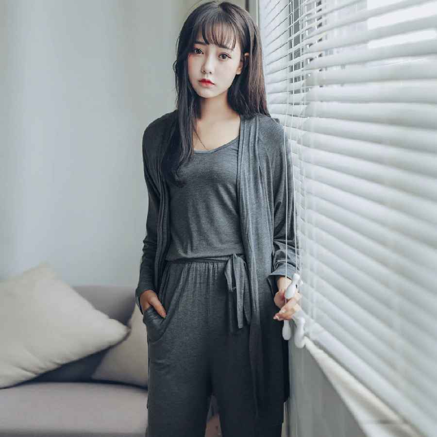 Pyjamas Women Pijama Sleepwear 2019 Summer Modal Vest+Pants+Cardigan 3 Pieces