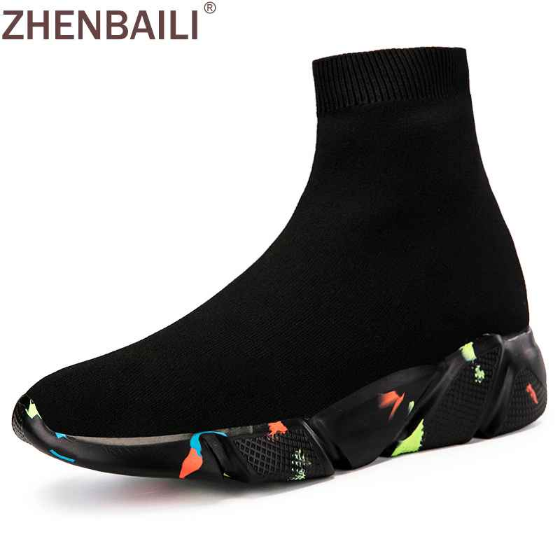 Zhenbaili Women Men Sneakers Mesh Knit Upper Breathable Fitness Shoes
