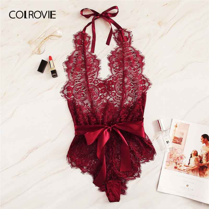 Colrovie Burgundy Floral Lace Scallop Knot Halter Sexy Lingerie Teddy