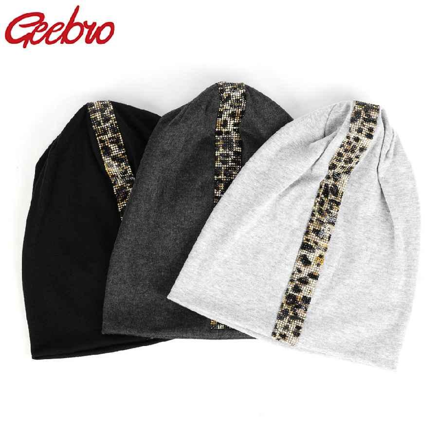 Geebro New Women s Leopard Rhinestones Stretch Beanies Unisex Cotton Casual