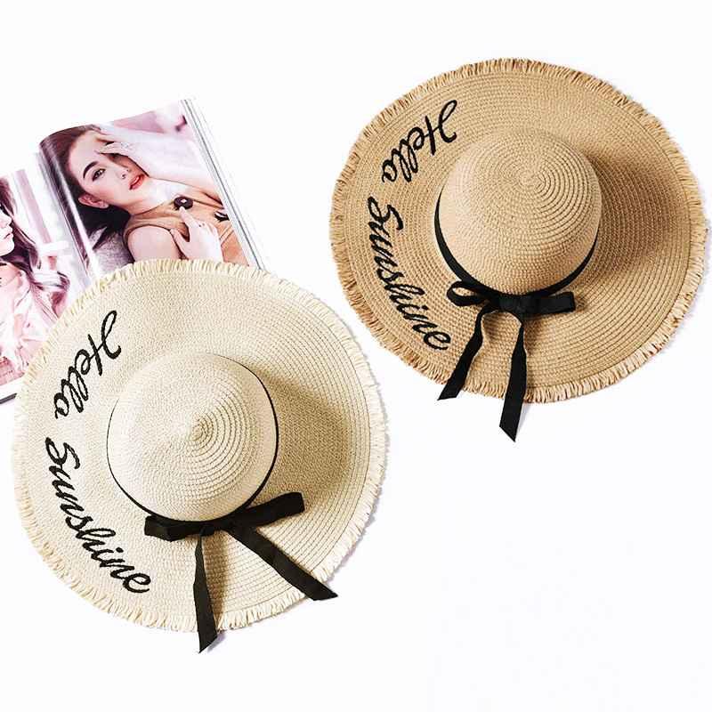 Embroidery Summer Straw Hat Women Wide Brim Sun Protection Beach