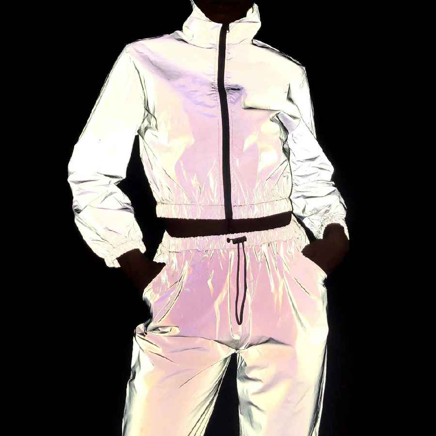 Coats women tracksuit 2 piece set hip hop reflective crop