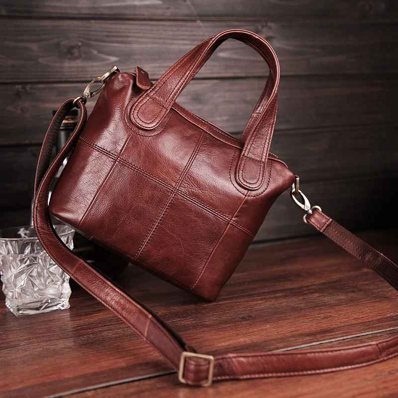 Genuine Leather Shoulder Bag Patchwork Clutch Handbags For Women Tote