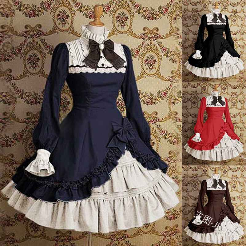 Palace Vintage Sweet Lolita Dress High Collar Flare Sleeve Bowknot
