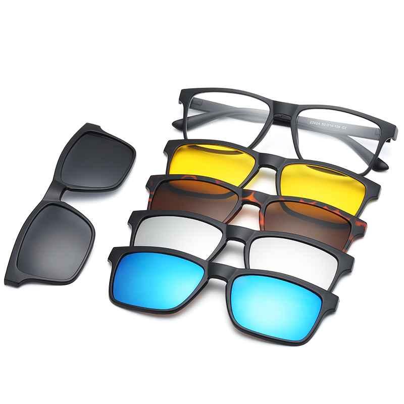 Hjyfino 5 Lenes Magnet Sunglasses Clip Mirrored Clip On Sunglasses
