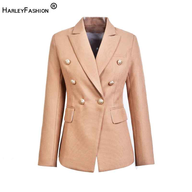 Blazers harleyfashion european casual slim fitness metal gold button jacket