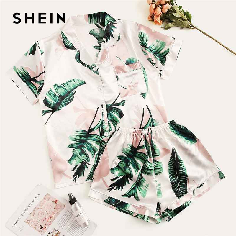 Tropical Print Satin Pajama Set Casual Sleep Wear Shorts Sets