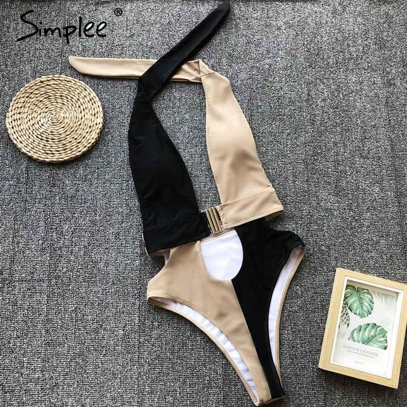 Swimwear Simplee Women Summer Leopard Swimwear Buckle Halter Female One