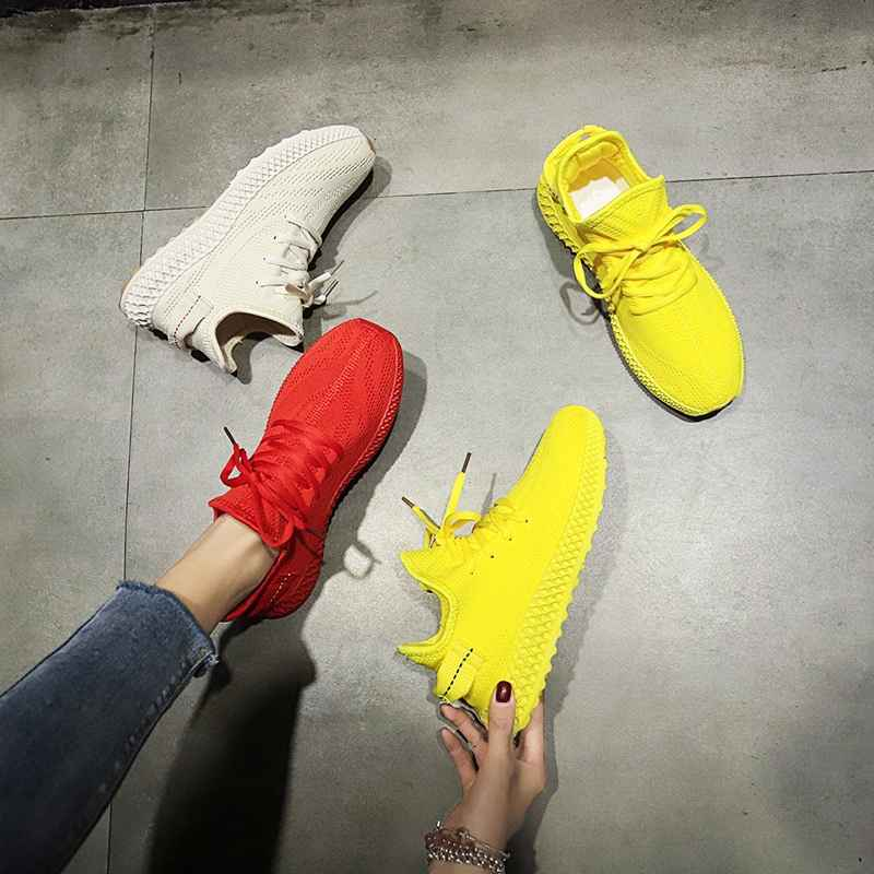 2019 New Summer White Mesh Breathable Women Sneakers Fashion Thick