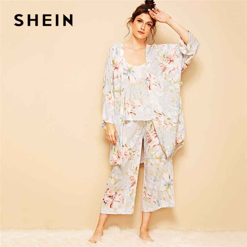 Floral Print Cami Pajama Set With Robe Women Summer Casual