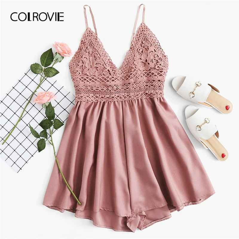 Colrovie Pink Solid V Neck Backless Contrast Lace Knot Back